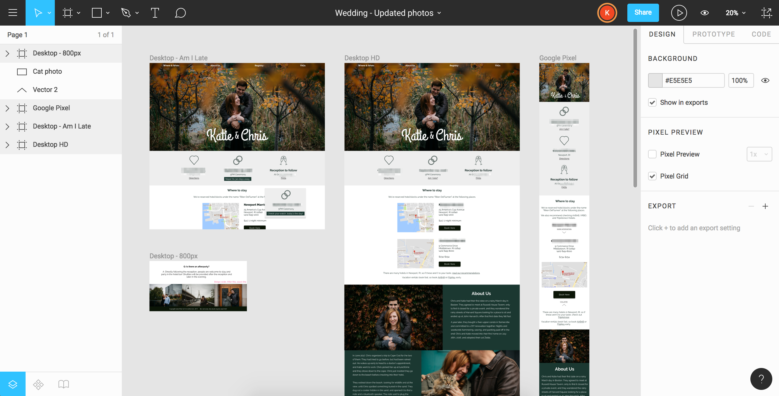 Screenshot of design file for wedding website