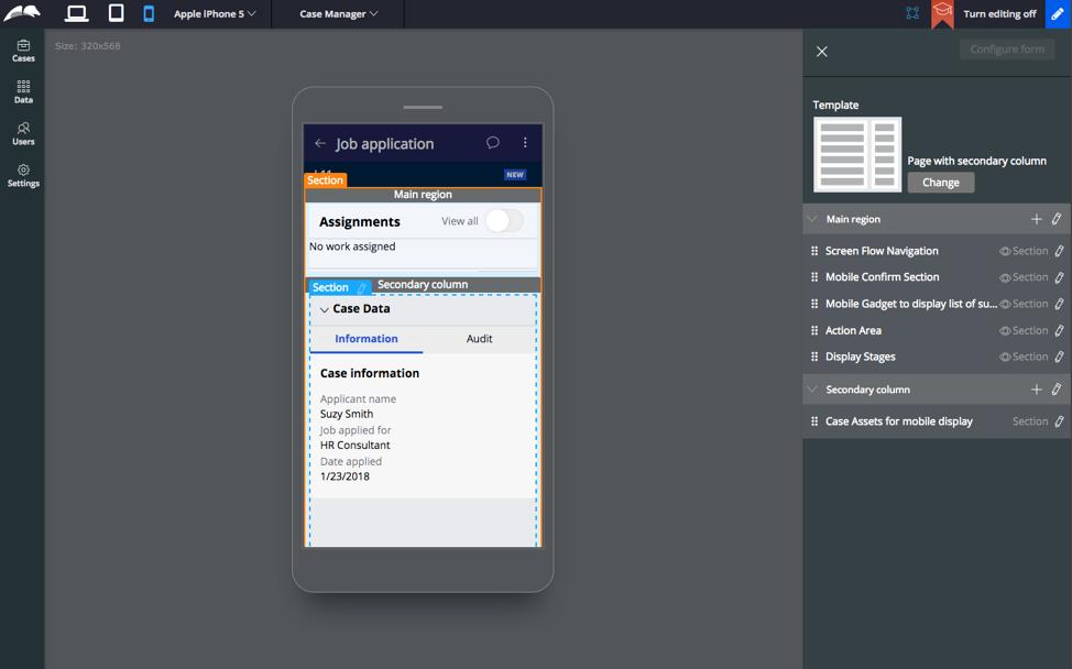 Configuring a design template inside Pega